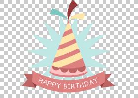 生日派对帽贴纸,卡通生日帽标签PNG剪贴画帽子,假期,帽子矢量,标