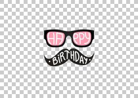 生日蛋糕祝你生日快乐祝福贺卡,简单的卡通眼镜胡子造型PNG剪贴画