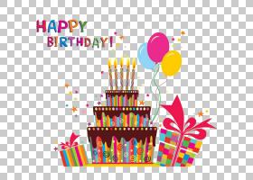 生日蛋糕贺卡祝你生日快乐,卡通生日蛋糕庆祝晚宴PNG剪贴画结婚周