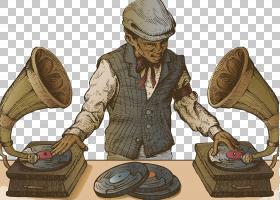 留声机唱片Turntablism,美国复古卡通插画PNG剪贴画杂项,复古,卡