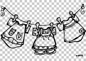 洗衣晾衣绳衣服烘干机服装,晾衣绳的PNG剪贴画白色,文字,单色,清