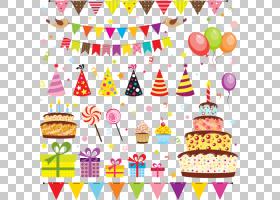 派对生日卡通皇室,生日元素PNG剪贴画食品,假期,气球,贺卡,生日快