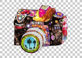 相机艺术版画绘图,彩色相机PNG剪贴画水彩画,颜色飞溅,摄影,彩色
