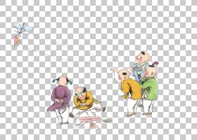 清明节春秋时期春芬风筝,手绘古代儿童风筝PNG剪贴画水彩画,儿童,