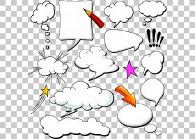 漫画演讲气球云,Dialog漫画集合,杂志meme PNG剪贴画角,白色,铅笔