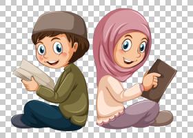 穆斯林伊斯兰教古兰经男孩,穆斯林学生,男孩和女孩PNG剪贴画孩子,