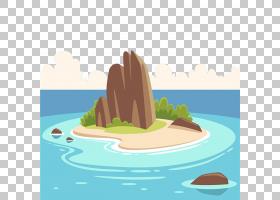 热带岛屿度假村卡通,岛上有山脉PNG剪贴画海滩,食品,摄影,岛屿,山