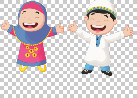 穆斯林卡通儿童,穆斯林学生,男孩和女孩举手PNG剪贴画手,摄影,人