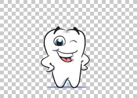 牙病理学牙科口腔卫生牙刷牙,卡通可爱牙齿形状PNG剪贴画卡通人物
