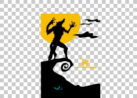 狼人万圣节,卡通月亮狼人剪影PNG剪贴画卡通人物,文本,徽标,计算