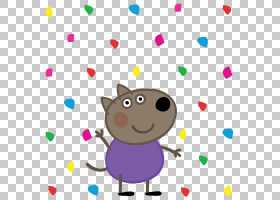 猪Danny狗绘画动画,PEPPA PIG PNG剪贴画紫色,儿童,动物,carnivor