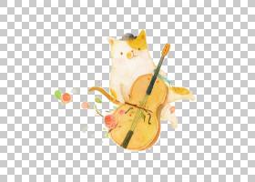 猫T恤大提琴小提琴,小猫和小提琴PNG剪贴画水彩绘画,3D计算机图形