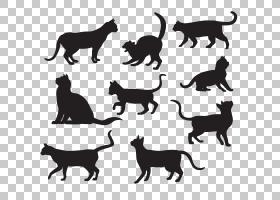 猫剪影海报,宠物猫剪影材料PNG剪贴画漫画,动物,猫像哺乳动物,食