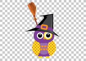 猫头鹰万圣节,帽子猫头鹰PNG剪贴画紫色,帽子,海报,脊椎动物,牛仔