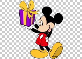 米老鼠米妮高飞唐老鸭生日,米老鼠,米老鼠拿着盒子PNG剪贴画英雄,