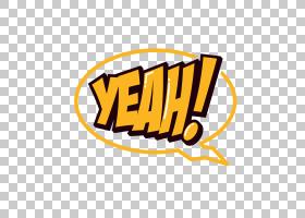 文字摄影,YEAH黄色卡通文字气泡PNG剪贴画漫画,标签,标志,语音气