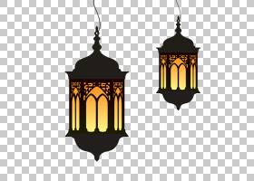 斋月开斋节,Fitr灯笼,斋月卡通灯,两个黑色吊灯PNG剪贴画灯具,假