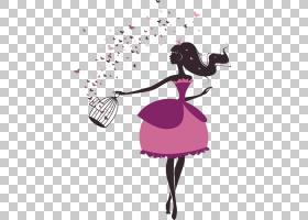 小公主剪影PNG剪贴画紫色,男人剪影,时尚插画,卡通,树剪影,洋红色