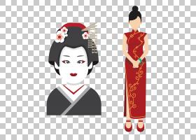 日本图标,中国旗袍女人与日本艺妓PNG剪贴画女商人,中国风格,和服