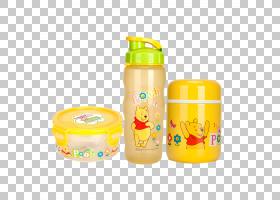 小熊维尼熊卡通,小熊维尼儿童卡通杯保温瓶套装PNG剪贴画卡通人物