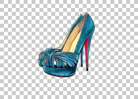 时尚写生高跟鞋绘图,蓝色高跟鞋PNG剪贴画水彩画,画,手,配件,户外