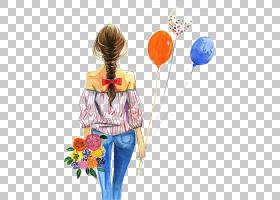 时尚水彩绘画绘图,女孩抱着气球,女人抱着气球PNG剪贴画时尚女孩,
