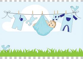 尿布蛋糕晾衣绳男孩,巴布晾衣绳的PNG剪贴画蓝色,哺乳动物,儿童,
