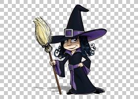 巫术股票摄影皇族,有一把魔法笤帚的巫婆在手边PNG clipart紫色,