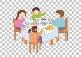 晚餐早餐吃,卡通宴会PNG剪贴画爱,卡通人物,家具,儿童,食品,卡通