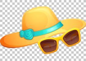 帽子护目镜太阳镜,夏天的PNG剪贴画橙色,卡通,眼镜,草帽,夏季教具