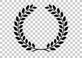 月桂花冠月桂花环,月桂花环,黑叶标志PNG剪贴画环,单色性,对称性,