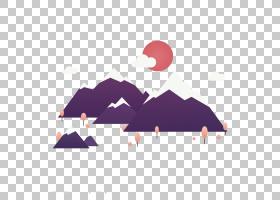 平面设计日出,平日出H5界面拉材料PNG剪贴画紫色,免费Logo设计模