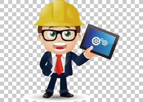 建筑工程,平板电脑元素PNG剪贴画电子,工程,工程师,卡通,设计元素