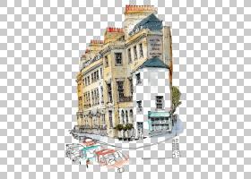 建筑水彩绘画绘图城市草绘素描,复古建筑PNG剪贴画共管公寓,欧洲,