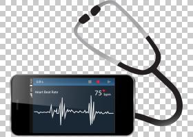 心率监视器智能手机听诊器,听诊器和手机PNG剪贴画电子,心,电话图