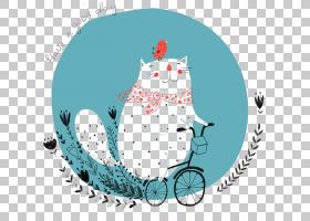 思想理念爱,骑自行车的猫PNG剪贴画蓝色,儿童,自行车,脊椎动物,插