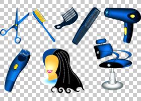 梳头发护理发型产品美发师吹风机,理发PNG剪贴画黑头发,人,女性头