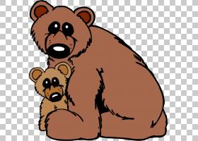 棕熊婴儿北极熊美国黑熊,母熊卡通熊PNG剪贴画卡通人物,哺乳动物,