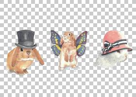 欧洲兔子水彩绘画,帽子与兔子PNG剪贴画动物,牛仔帽,卡通,动物,绘