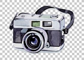 水彩画相机摄影,水彩相机,黑白单反相机PNG剪贴画水彩叶子,相机镜