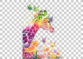 水彩画绘画视觉艺术画布打印,水彩长颈鹿,多彩多姿的长颈鹿和蝴蝶