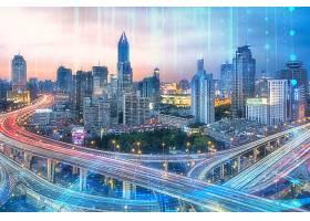 未来科技5G时代城市背景模板