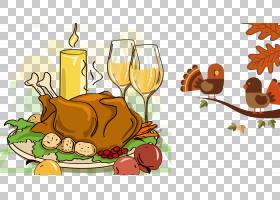 土耳其肉感恩节晚餐卡通,感恩节火鸡PNG剪贴画食品,鸡,花,感恩节
