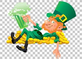 圣帕特里克节3月17日三叶草,妖精与啤酒,妖精躺在硬币PNG剪贴画传