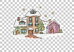 圣诞村欧几里德雪,雪村PNG剪贴画建筑,圣诞节雪,房屋,圣诞节装饰,
