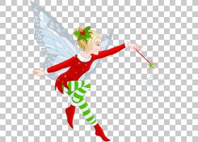 圣诞节童话圣诞老人卡通,透明圣诞精灵女孩,仙女拿着魔术棒PNG剪