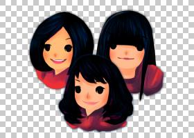 头眼黑头发棕色头发脸颊,三个女孩,三个女人在黑头发的PNG剪贴画