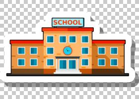 学校建筑Escuela,卡通学校贴纸,黄色和红色学校PNG剪贴画卡通人物