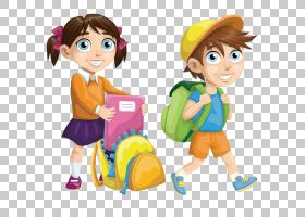 学校欧几里德,快乐的学校儿童,女孩和男孩去学校卡通人物PNG剪贴
