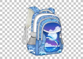 学生书包背包Estudante,卡通蓝色手绘学生背包PNG剪贴画水彩画,紫